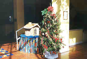 A Jamaican Christmas tree, and a rapidly melting gingerbread house